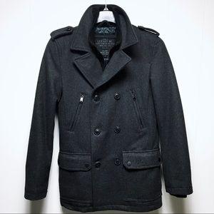 🔴SOLD GUESS Men's Wool Military Gray Peacoat